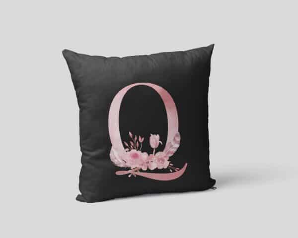 Custom Printed Monogram Letter Q on Black Pillow Case mockup square-02
