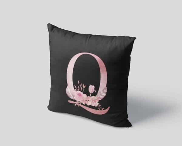 Custom Printed Monogram Letter Q on Black Pillow Case mockup square-04