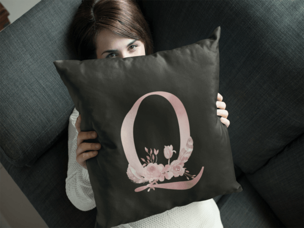 Custom Printed Monogram Letter Q on Black Pillow Case young girl hiding behind a square pillow mockup