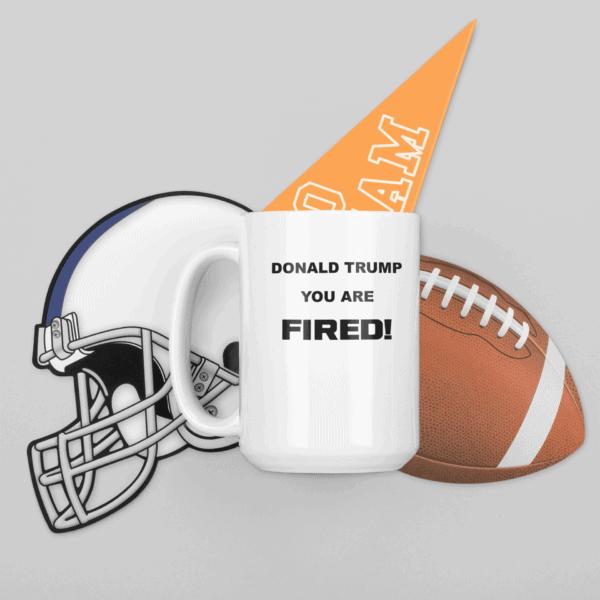 Donald Trump You Are Fired Custom Printed Mug mockup 11-oz coffee mug featuring football ornaments