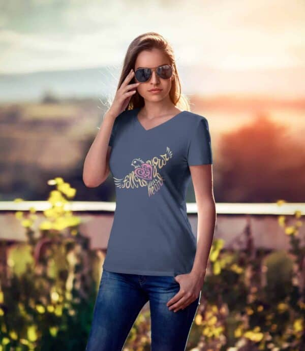 Follow Your Heart Ladies V-Neck T-Shirt Inspirational Design mockup of a woman with sunglasses wearing a Navy color v-neck t-shirt