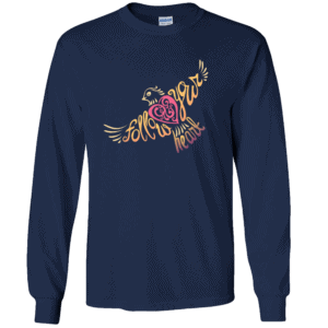 Follow Your Heart Long Sleeve T-Shirt Inspirational Design Navy