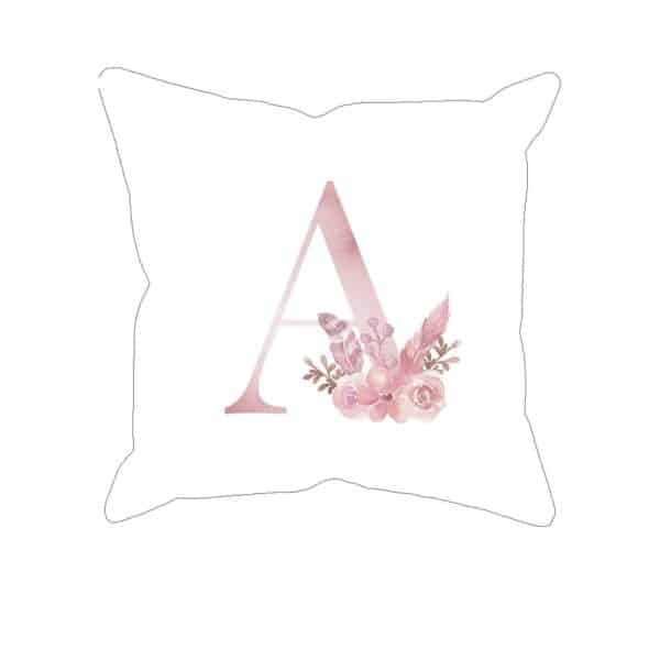 Monogram Letter A Custom Printed on White Pillow Case mockup square-02