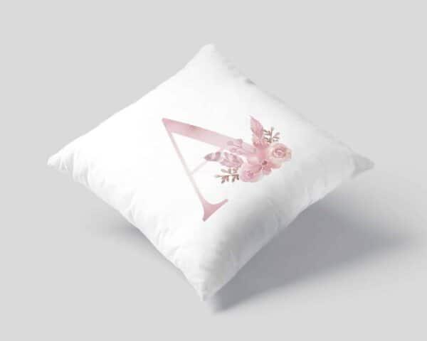 Monogram Letter A Custom Printed on White Pillow Case mockup square-01