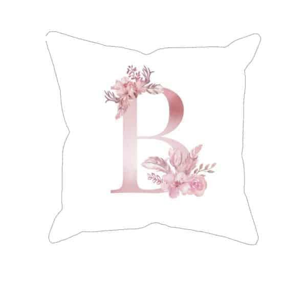 Monogram Letter B Custom Printed on White Pillow Case