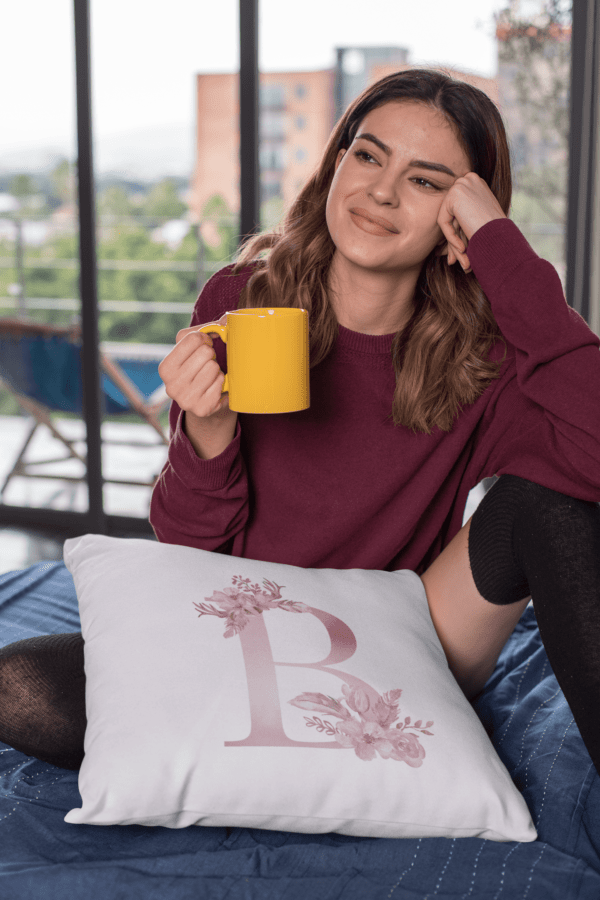 Monogram Letter B Custom Printed on White Pillow Case mockup featuring a gorgeous young woman holding a coffee mug