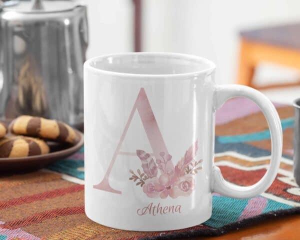 Personalized Monogram Letter A on 11 oz Mug Veiw 1