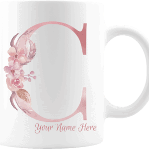 Personalized Monogram Letter C on 11 oz Mug