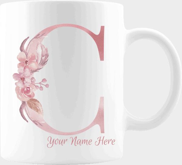 Personalized Monogram Letter C on 11 oz Mug