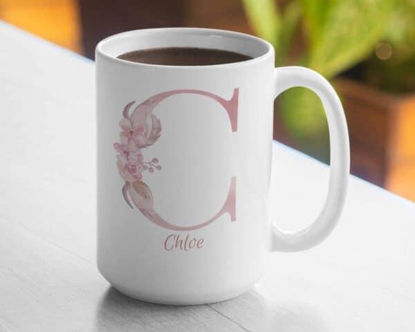 Personalized Monogram Letter C on 11 oz Mug Veiw