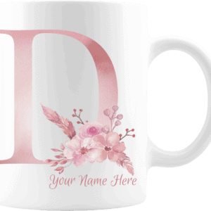 Personalized Monogram Letter D on 11 oz Mug White