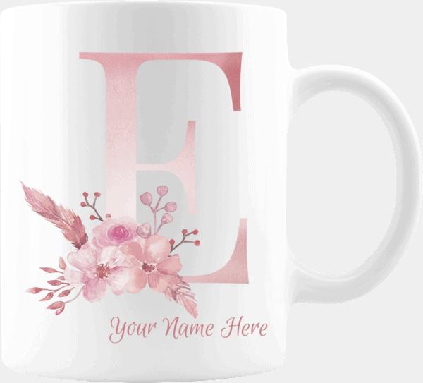 Personalized Monogram Letter E on 11 oz Mug White