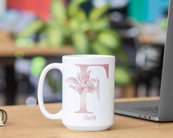 Personalized Monogram Letter F on 11 oz Mug White Veiw 2