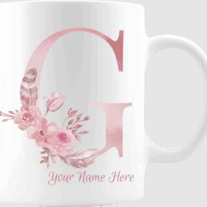 Personalized Monogram Letter G on 11 oz Mug White