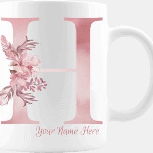 Personalized Monogram Letter H on 11 oz Mug White