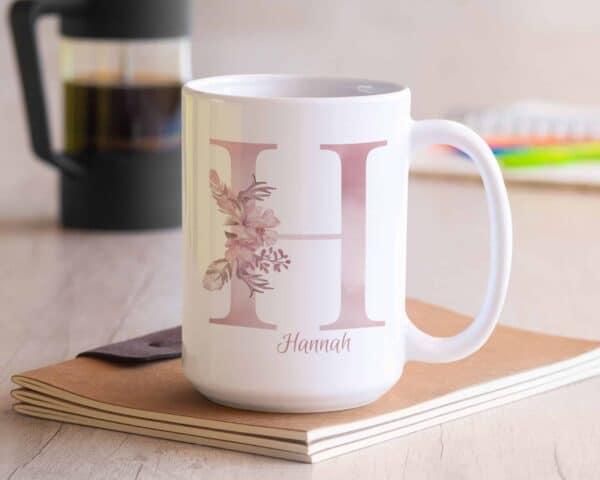 Personalized Monogram Letter H on 11 oz Mug White Veiw 2