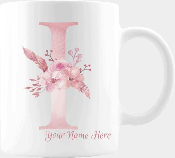 Personalized Monogram Letter I on 11 oz Mug White