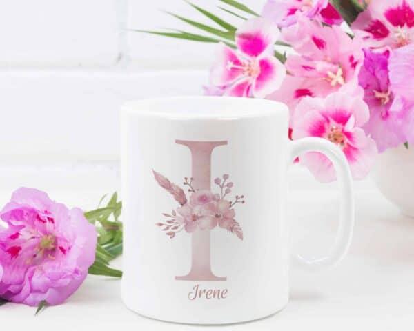 Personalized Monogram Letter I on 11 oz Mug White Veiw 1