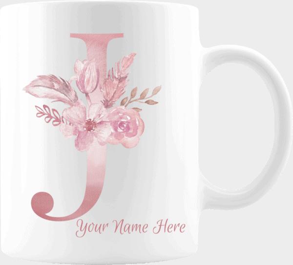 Personalized Monogram Letter J on 11 oz Mug White
