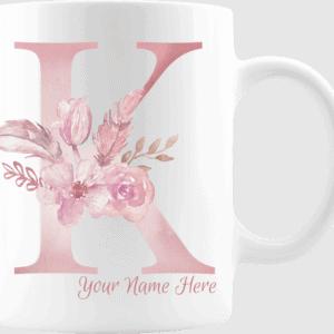 Personalized Monogram Letter K on 11 oz Mug White