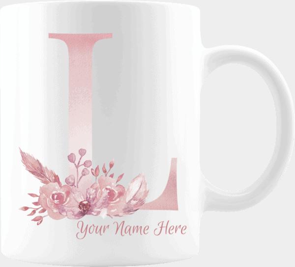 Personalized Monogram Letter L on 11 oz Mug White