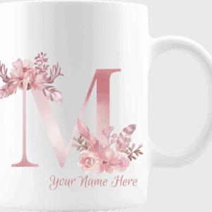 Personalized Monogram Letter M on 11 oz Mug White