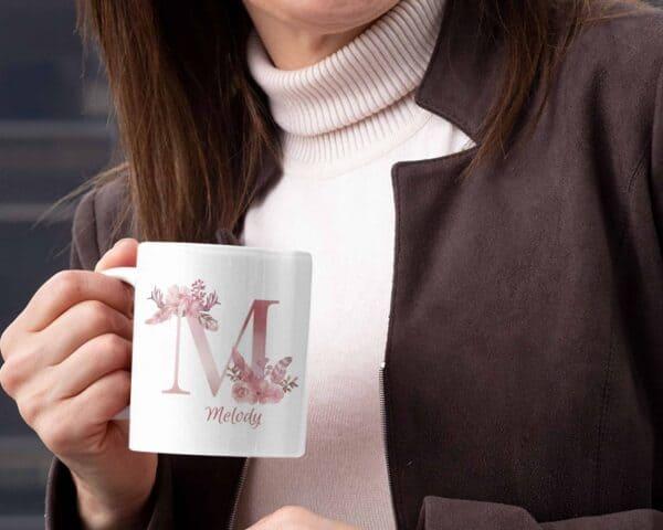 Personalized Monogram Letter M on 11 oz Mug White View 1