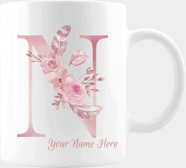 Personalized Monogram Letter N on 11 oz Mug White