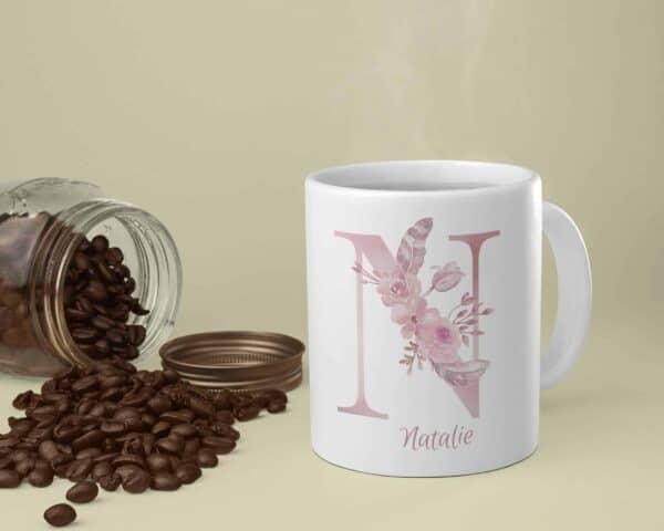Personalized Monogram Letter N on 11 oz Mug White View 1