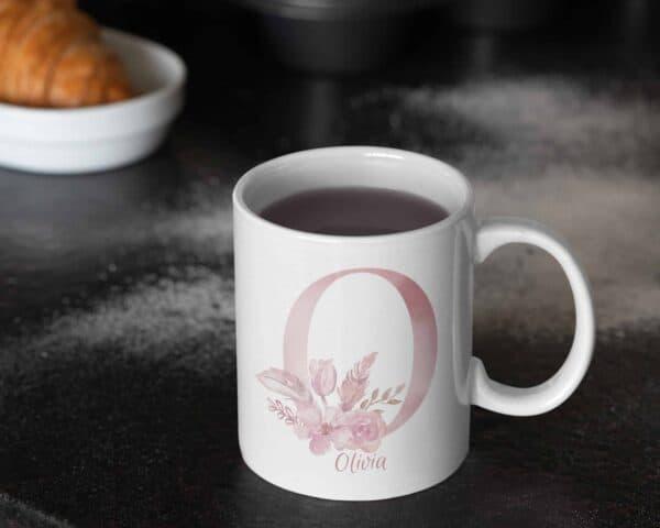 Personalized Monogram Letter O on 11 oz Mug White View 1