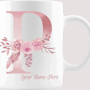 Personalized Monogram Letter P on 11 oz Mug White