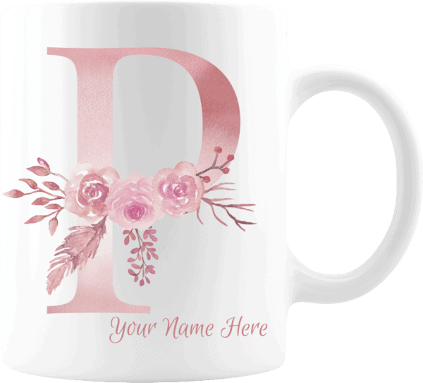 Personalized Monogram Letter P on 11 oz Mug White