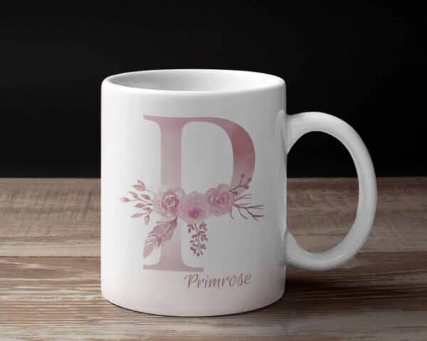 Personalized Monogram Letter P on 11 oz Mug White View 1