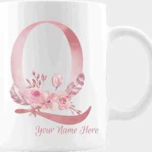 Personalized Monogram Letter Q on 11 oz Mug White
