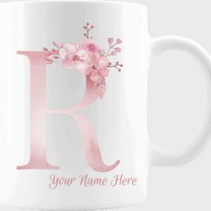 Personalized Monogram Letter R on 11 oz Mug White