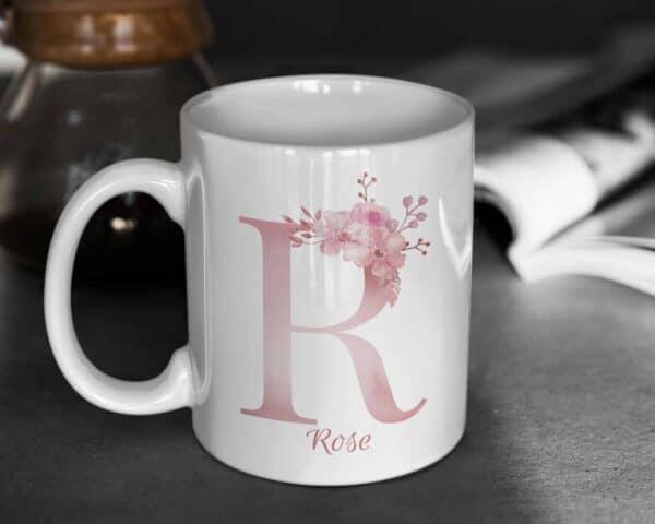 Personalized Monogram Letter R on 11 oz Mug White View 1