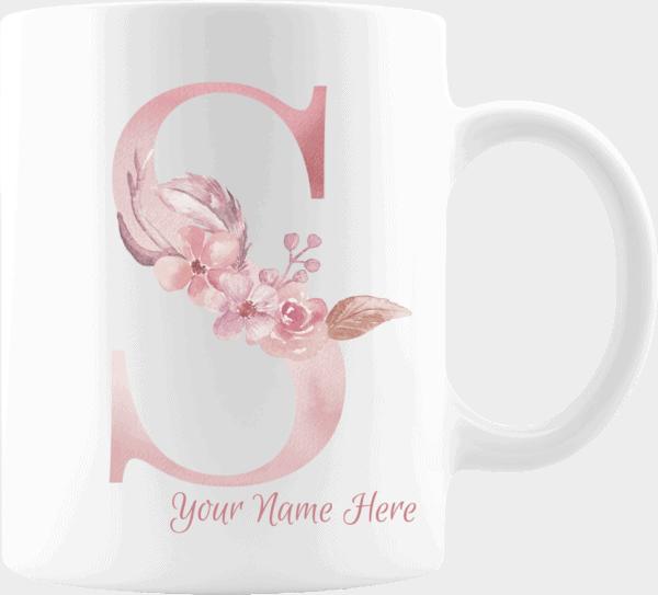 Personalized Monogram Letter S on 11 oz Mug White