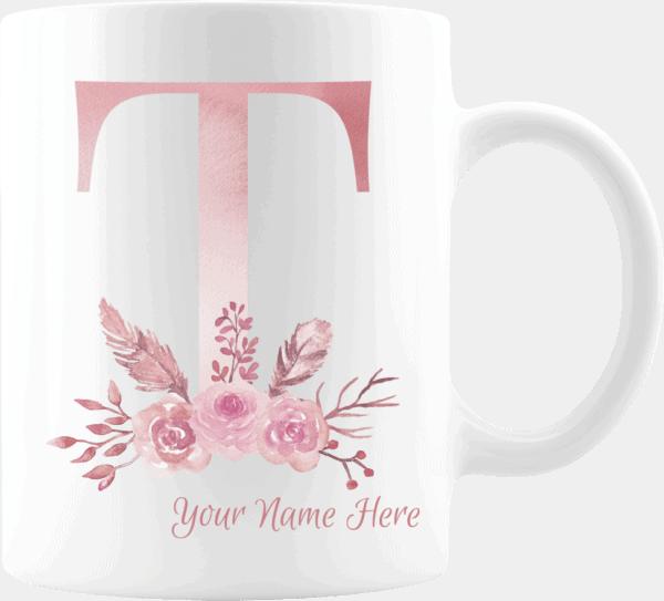 Personalized Monogram Letter T on 11 oz Mug White