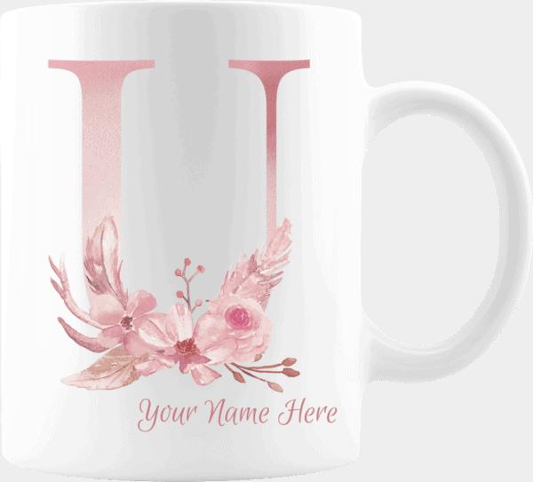 Personalized Monogram Letter U on 11 oz Mug White