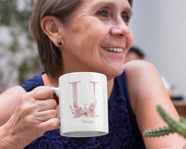 Personalized Monogram Letter U on 11 oz Mug White View 1