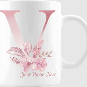 Personalized Monogram Letter V on 11 oz Mug White