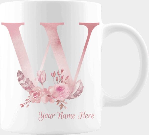 Personalized Monogram Letter W on 11 oz Mug White
