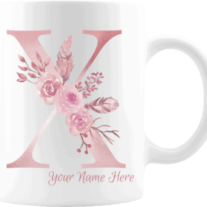 Personalized Monogram Letter X on 11 oz Mug White