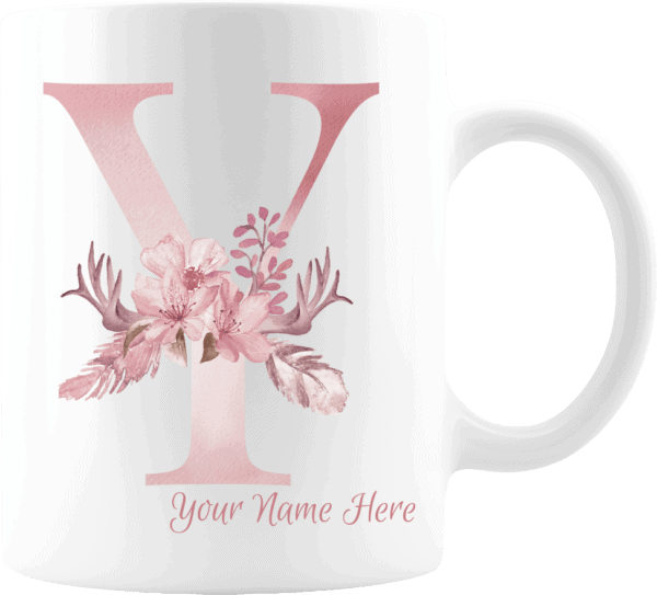 Personalized Monogram Letter Y on 11 oz Mug White