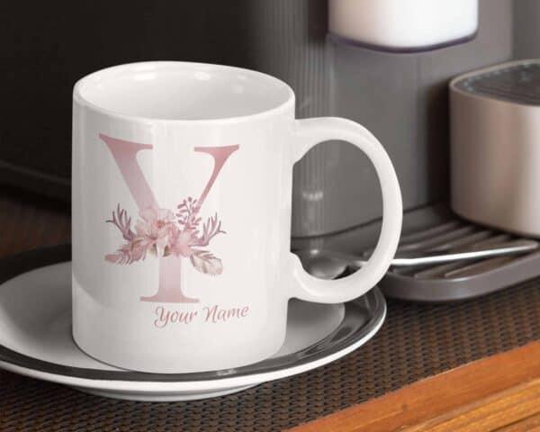 Personalized Monogram Letter Y on 11 oz Mug White View 1
