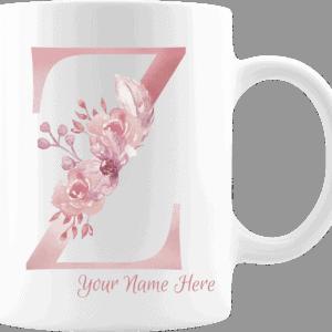 Personalized Monogram Letter Z on 11 oz Mug White
