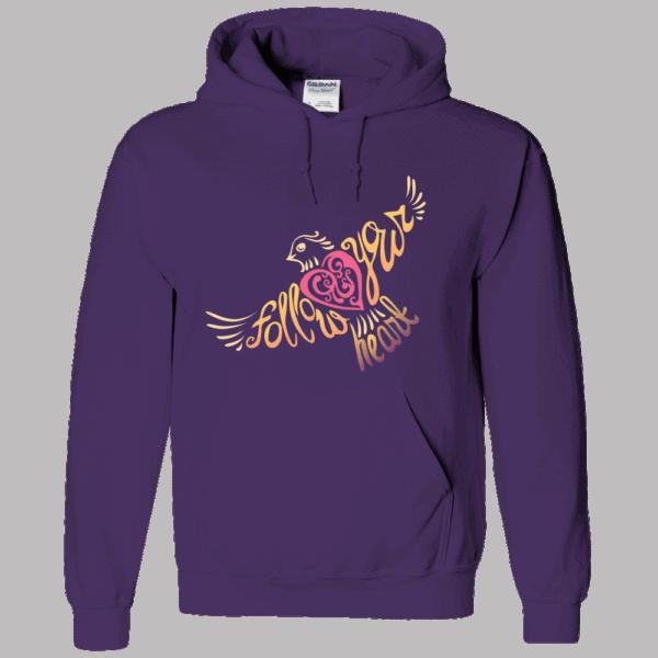 Follow Your Heart Hoodie Design Deep Purple