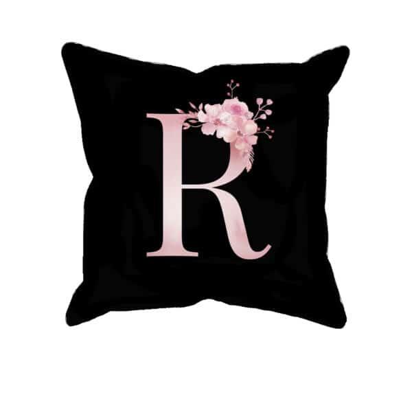 Custom Printed Monogram Letter R on Black Pillow Case