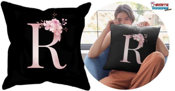 Custom Printed Monogram Letter R on Black Pillow Case ct