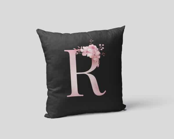 Custom Printed Monogram Letter R on Black Pillow Case mockup square-02